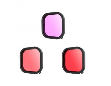 Telesin Red / Pink / Purple Lens filter set Underwater για GoPro Hero 9, Σετ Φίλτρων για Υποβρύχιες Λήψεις - GP-FLT-904