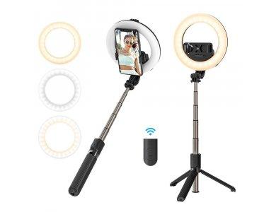 BlitzWolf BW-BS8 Pro Selfie Stick & Tripod with Ring Light & Remote