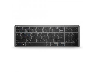 Delux K2203D Low Profile Bluetooth Multi-Device Keyboard, Dual mode Bluetooth / 2.4GHz, Black