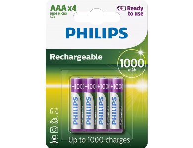 Philips AAA Rechargeable Batteries 1000mAh Ni-MH Ready To Use 4 Pcs