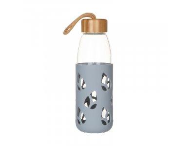 Pebbly Nomadic Glass Bottle, Γυάλινο Μπουκάλι με Καπάκι από Μπαμπού & επένδυση σιλικόνης, 550ml, Grey