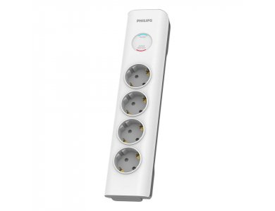Philips 4-outlet Surge Protection Strip, Power Socket & 4-Position Voltage Protector with 2M Cable