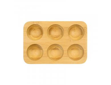 Pebbly Egg Tray, Bamboo Egg Case with 6 Seats