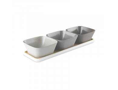 Pebbly Aperitif Box Bamboo Set 3 Bowl with Tray