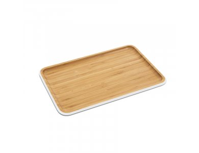 Pebbly Serving Tray Bamboo, with Colored Edge 33x21cm, White