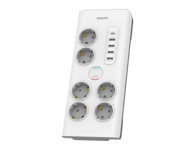Philips 6-outlet Surge Protection Strip, Power Plug & 6-Position Power Protector & 5 x USB with 2M Cable