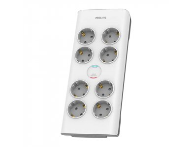 Philips 8-outlet Surge Protection Strip, Multi-socket & 8-Position Voltage Protector with 2M Cable