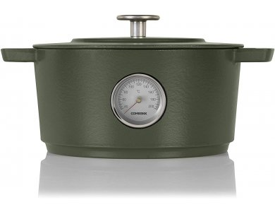Combekk Dutch Oven Thermometer Concrete 24cm - 4L, Κατσαρόλα Cast Iron με ενσωματωμένο Θερμόμετρο, Green