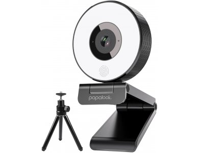 Papalook PA552 StreamCam Full HD Webcam USB 1080p @ 30fps DSP Noise-Cancelling Dual Microphone with Studio-Like Ring Light & Tripod