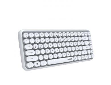 Ajazz 308i Ultra Compact Slim Profile Bluetooth Keyboard Multi-Device, Retro with Round Keys, White