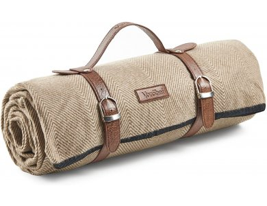 VonShef Picnic Blanket from Waterproof Fabric and Vegan Leather Handle 147x180cm, Beige Herringbone