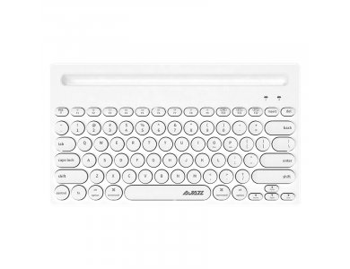 Ajazz 320i Ultra Compact Slim Profile Bluetooth Keyboard Multi-Device with Tablet / Smartphone Placement, White