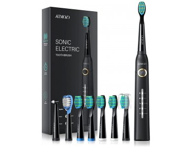 ATMOKO AMHP126 Electric Toothbrush with 8 Spare Heads, 5 Modes, 2 Min Timer & Fast Charging, Black