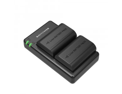 RAVPower Battery Charger Canon LP-E6 Dual Set with 2 Batteries for Canon EOS 5D Mark IV / 5DS / 7D / 80D etc. - RP-BC003