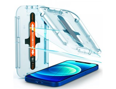 Spigen iPhone 12/12 Pro GLAS.tR EZ FIT Premium Tempered Glass Screen Protector, with Installation Frame - AGL01801, Set of 2