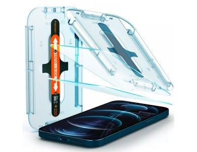 Spigen iPhone 12 Pro Max GLAS.tR EZ FIT Premium Tempered Glass Screen Protector, με Installation Frame - AGL01791, Σετ των 2