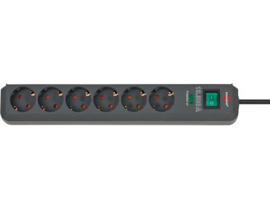 Brennenstuhl Eco 6-exit Surge Protection Strip, Power strip & Voltage protector 13,500A with switch & 1,5M Cable, Black