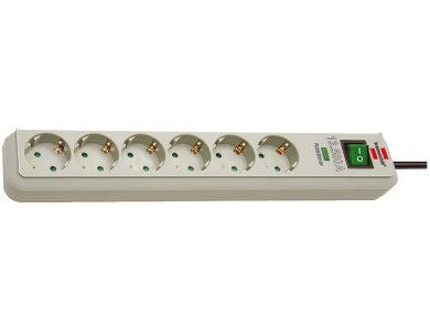 Brennenstuhl Eco 6-outlet Surge Protection Strip, Power strip & Voltage protector 13,500A with switch & 1.5M Cable, White