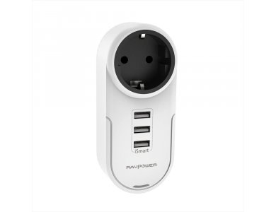 RAVPower 17W 3-Door Socket Charger & 4-in-1 Voltage Protector - RP-PC003, White