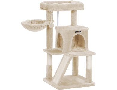 FEANDREA Velvet Nail Track with Pillars, 4 Level Cat Tree with 1 Hide, from Sisal 48x48x96cm - PCT51M, Beige