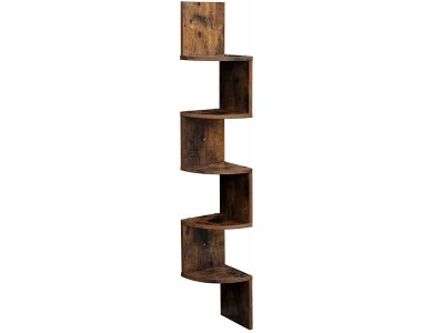 VASAGLE LBC20BX Corner Shelf / Wall Bookcase, 5 Shelves, Floating with Zigzag Design 127x20x20cm in Rustic Style, Brown
