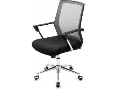 Songmics Office Chair, Mesh Καρέκλα Γραφείου με Ανάκλιση, Ρυθμιζόμενο Ύψος & Μπράτσα 102 x 61 x 55cm - OBN83GY, Black