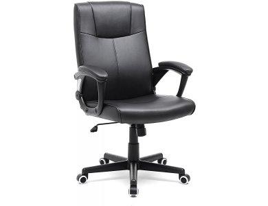 Songmics Modern Office Chair, PU Leather Καρέκλα Γραφείου με Ανάκλιση, Ρυθμιζόμενο Ύψος & Μπράτσα 110 x 66 x 66cm- OBG32B, Black