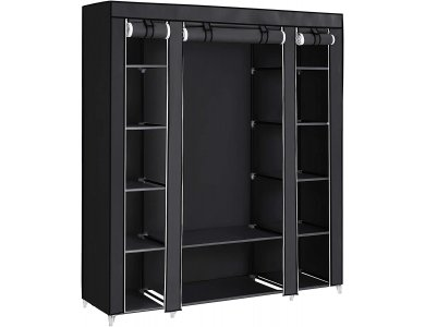 Songmics Canvas Wardrobe, Fabric Wardrobe with metal frame 150 x 45 x 175cm, Black
