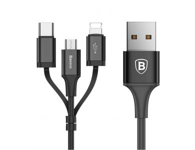Baseus Excellent 3-in-1 Lightning / Type-C / Micro USB Cable, 1.2m. - CA3IN1-ZY01, Black