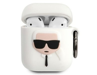 Karl Lagerfeld AirPods Karl's Head Silicone Case, White
