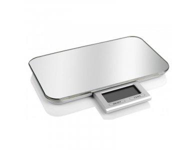 Pebbly Slim Kitchen Scale, Ζυγαριά Κουζίνας 23x13cm ως 10kg, Ακρίβεια 1g, με Πτυσσόμενη LED Οθόνη, από Tempered Glass, Silver
