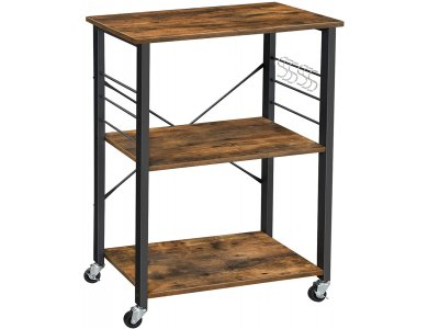 VASAGLE Kitchen Shelf on Wheels, Τρόλεϊ Κουζίνας Ξύλινο 3 Θέσεων με Ράφια & Καφέ Επιφάνειες σε Ρουστίκ Στυλ - KKS60XV1, Μαύρο