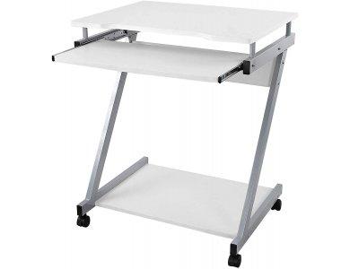 VASAGLE Computer Desk Mobile, Z-Shaped Γραφείο Υπολογιστή Τροχήλατο με Μεταλλικά Πόδια 60 x 48 x 73cm - LCD811W, Λευκό