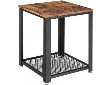 VASAGLE Side Table, Βοηθητικό Τραπεζάκι Τετράγωνο με Ατσάλινο Σκελετό και Καφέ Επιφάνεια σε Ρουστίκ Στυλ 45 x 45 x 55cm - LET41X