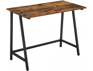 VASAGLE Large Desk, LWD40X Γραφείο Υπολογιστή / Τραπέζι  με Ατσάλινο Σκελετό σε Ρουστίκ Στυλ, 100 x 50 x 75cm, Brown