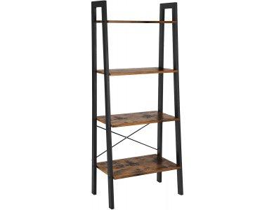 VASAGLE Ladder Shelf, Βιβλιοθήκη Δαπέδου, 4 Ραφιών με Ατσάλινο Σκελετό και Καφέ Επιφάνεια σε Ρουστίκ Στυλ 56x34x138cm - LLS44X