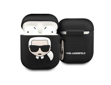 Karl Lagerfeld AirPods Karl's Head Silicone Case, Black