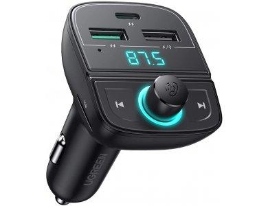 Ugreen FM Transmitter Bluetooth 5.0 Handsfree Αυτοκινήτου & MP3 Player & Φορτιστής 2 Θυρών PD / QC3.0 + Card Reader - 80910
