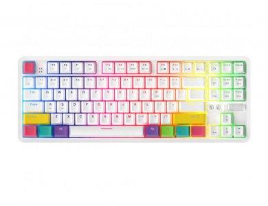 Ajazz K870T Ασύρματο Μηχανικό RGB Πληκτρολόγιο, Bluetooth Gaming Keyboard με Black Switches, Tenkeyless, Λευκό