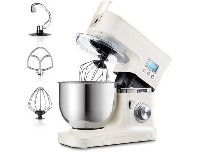 Hauswirt Food Stand Mixer HM740, Cooker 1000W, 8 Speeds + Pulse Function, Digital Display, Stainless Steel Bucket 5L & 3 Stirrers