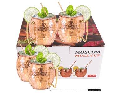 Moscow Mule Mug Copper Σετ με 4 Κούπες για Cocktail από Ανοξείδωτο Ατσάλι με 4 Καλαμάκια + Βουρτσάκι Καθαρισμού