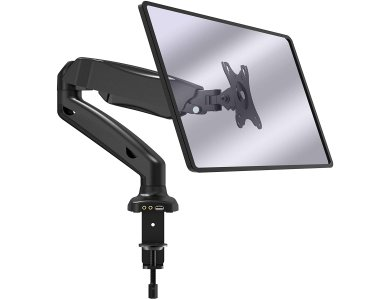 """VonHaus Single Arm Desk Mount with Clamp, Full Motion Screen Stand 17 """"-32"""", Gas Spring up to 9kg, with USB Hub - 05/118"""