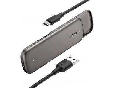 Ugreen M.2 NVMe SSD Enclosure, USB C 3.1 Gen2, External Hard Drive Case M-Key / M + B Key Thunderbolt 3, 10Gbps, Silver - 60355