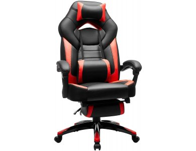 Songmics Premium Gaming Chair, OBG77BR PU Leather Καρέκλα Γραφείου με 2 Μαξιλάρια & Υποπόδιο, XL, Black / Red
