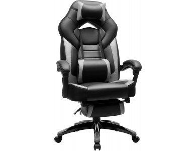 Songmics Premium Gaming Chair OBG77BG, PU Leather Καρέκλα Γραφείου με 2 Μαξιλάρια & Υποπόδιο, XL, Black / Grey