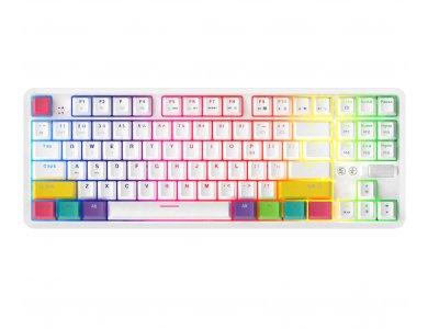 Ajazz K870T Ασύρματο Μηχανικό RGB Πληκτρολόγιο, Bluetooth Gaming Keyboard με Brown Switches, Tenkeyless, Λευκό