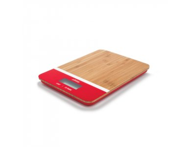 Pebbly Rectangular Kitchen Scale 23x16cm to 5kg, Precision 1g, with LED Display, from Bamboo, Red