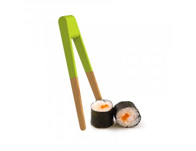 Pebbly Sushi Tongs, Kitchen Tweezers / Chopsticks from Bamboo 15cm, Green