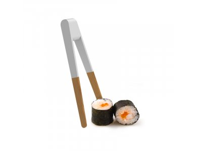 Pebbly Sushi Tongs, Kitchen Tweezers / Chopsticks from Bamboo 15cm, White