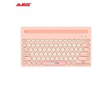 Ajazz 320i Ultra Slim Bluetooth Πληκτρολόγιο Multi-Device Keyboard με θέση για Tablet / Smartphone, Σετ με Mouse Pad, Pink